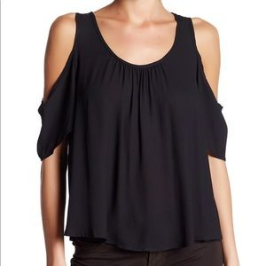 Lush Black Cold Shoulder Ruffle Pleated Top S